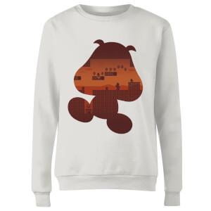 Nintendo Super Mario Goomba Silhouette Women's Sweatshirt - White