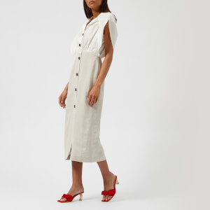 Rejina Pyo Women's Ingrid Long Dress - Cotton White/Linen Light Grey
