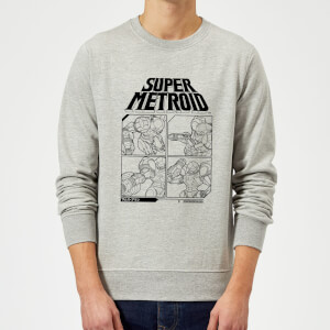 Nintendo Super Metroid Instructional Panel Pullover - Grau