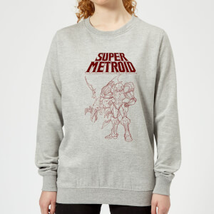 Nintendo Super Metroid Ridley And Samus Damen Pullover - Grau