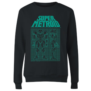 Nintendo Super Metroid Power Suit Blueprint Black Women's Sweatshirt - Black