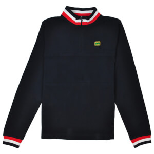 Reynolds 531 Quarter Zip Tipped Collar Jumper - Navy