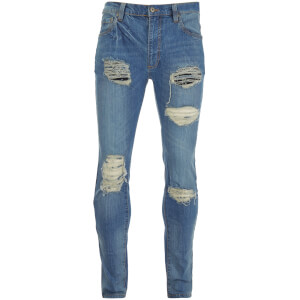 D-Struct Men's Ripped Washed Slim Fit Jeans - Blue