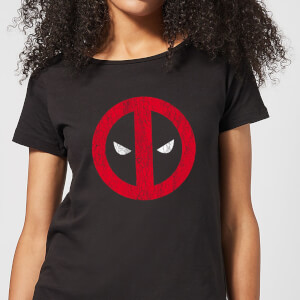 Marvel Deadpool Cracked Logo Women's T-Shirt - Black