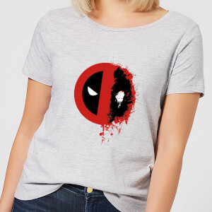 Marvel Deadpool Split Splat Logo Women's T-Shirt - Grey