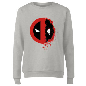 Marvel Deadpool Split Splat Logo Women's Sweatshirt - Grey