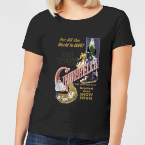 Disney Princess Cinderella Retro Poster Women's T-Shirt - Black