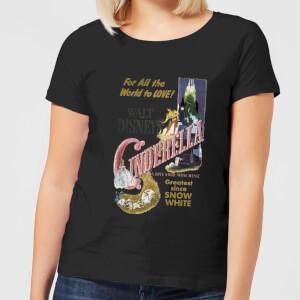 T-Shirt Principesse Disney Cenerentola Retro Poster - Nero - Donna