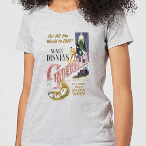 Disney Prinzessin Cinderella Retro Poster Damen T-Shirt - Grau