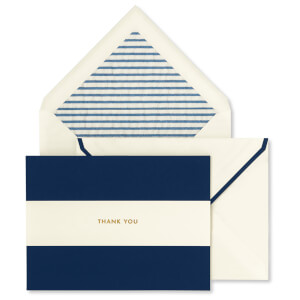 Kate Spade Notecard Set - Thank You - Navy Stripe