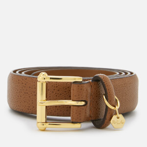 Lauren Ralph Lauren Women's Endbar Embossed Leather Belt - Bourbon