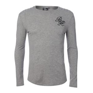Beck & Hersey Men's Rib Panel Fleck Long Sleeve T-Shirt - Light Grey Marl