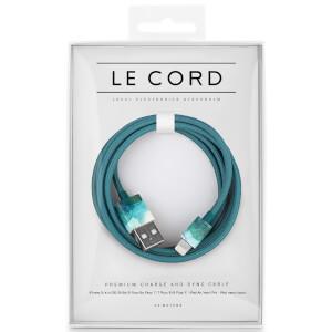 Le Cord Braided Marble Effect Charging Cable - Aquarelle Aqua - 1.2m