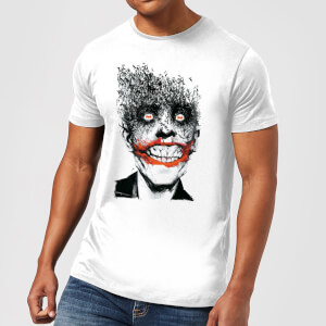 T-Shirt DC Comics Batman Joker Face Of Bats - Bianco