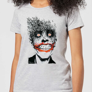 T-Shirt DC Comics Batman Joker Face Of Bats - Grigio - Donna