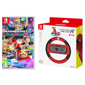 Mario Kart 8 Deluxe Game + Mario Joy-Con Wheel