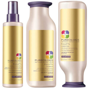 Produkttrio med Pureology Fullfyl Colour Care sjampo, balsam og Densify-spray