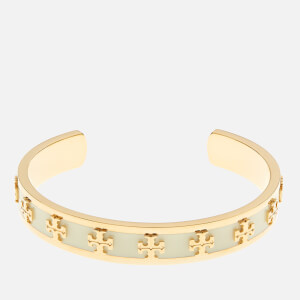 Tory Burch Women's Enamel Raised Logo Cuff Bracelet - New Ivory/Gold