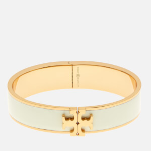 Tory Burch Women's Raised Logo Enamel Hinged Bracelet - New Ivory/Gold