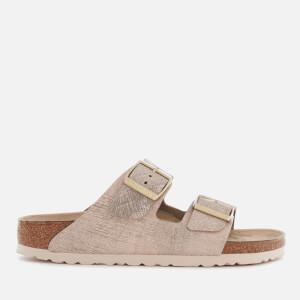 Birkenstock Women's Arizona Slim Fit Leather Double Strap Sandals - Washed Metallic Rose Gold
