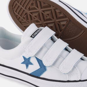 Converse Kids' Star Player 3V Ox Trainers - White/Aegean Storm/Black: Image 4