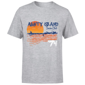 T-Shirt Homme Les Dents de la mer - Club de Natation Amity - Gris