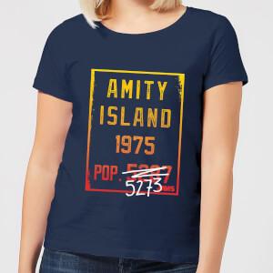 T-Shirt Femme Les Dents de la mer - Population d'Amity - Bleu Marine