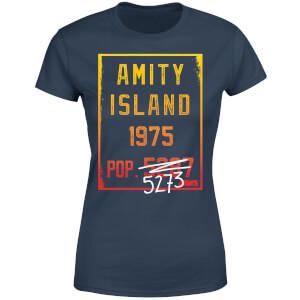 Jaws Amity Population Women's T-Shirt - Navy