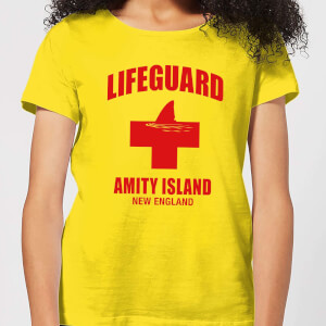 T-Shirt Lo Squalo Amity Island Lifeguard - Giallo - Donna