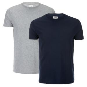 Wrangler Men's 2 Pack T-Shirt - Mid Grey Melange