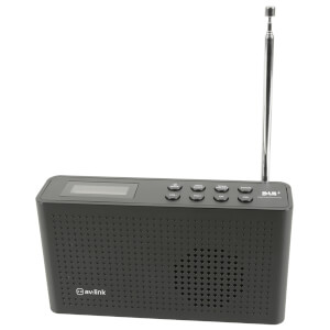 AV: Link Portable Rechargeable DAB+ and FM Radio - Black