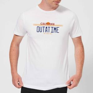 T-Shirt Homme Retour vers le Futur - Plaque Immatriculation Outatime - Blanc
