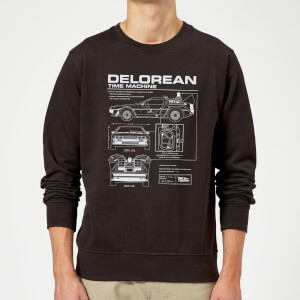 Back to the Future DeLorean Schematic Trui - Zwart
