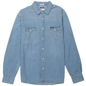 Wrangler Men's Western Denim Shirt - Light Indigo