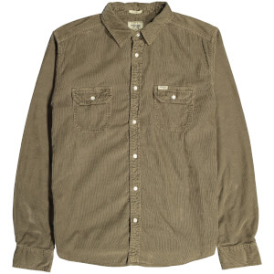 Wrangler Men's 2 Pocket Micro Cord Shirt - Army Green