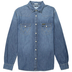 Wrangler Men's Western Denim Shirt - Mid Indigo