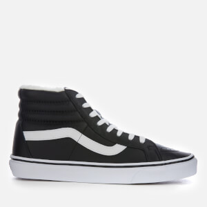 Vans Men's Sk8-Hi Reissue Leather/Fleece Trainers - Black/True White