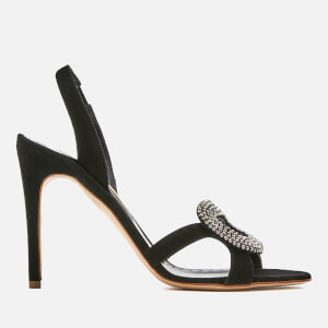 Rupert Sanderson Women's Aurora Swarovski Pebble Suede Heeled Sandals - Black