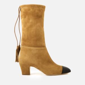 Rupert Sanderson Women's Tiptoe Suede Heeled Boots - Black/Sunglow