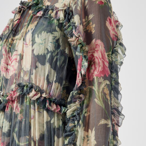 Zimmermann Women's Iris Ruffle Resort Dress - Charcoal Floral: Image 4