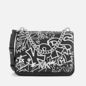 MICHAEL MICHAEL KORS Women's Graffiti Calia Leather Cross Body Bag - Black