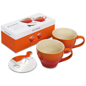 Le Creuset Stoneware Grand Mugs and Coffee Bean Stencil - Set of 2