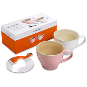 Le Creuset Stoneware Grand Mugs and Heart Stencil - Set of 2