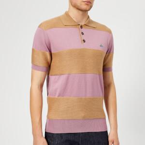 Vivienne Westwood Men's Gourmier Stripes Knitted Polo Shirt - Beige/Pink Stripes