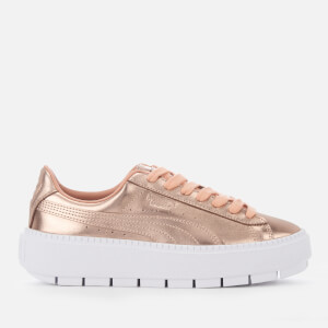 Puma Women's Trace Basket Platform Trainers - Dusty Coral/Puma White