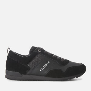 Tommy Hilfiger Men's Iconic Leather/Suede Mix Running Style Trainers - Black