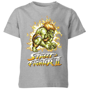 Street Fighter Blanka 16-bit Kinder T-Shirt - Grau