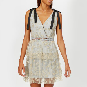 Self-Portrait Women's Tiered Floral Embroidered Mesh Mini Dress - Gold-Grey