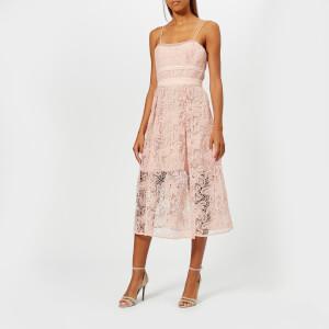 Self-Portrait Women's Sleeveless Floral Mesh Lace Dress - Pink