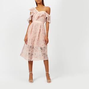 Self-Portrait Women's Floral Mesh Lace Frill Midi Dress - Pink